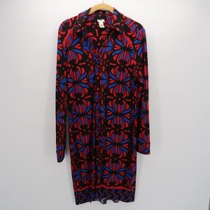 Womens Cache Blue Red Long Sleeve Dress M